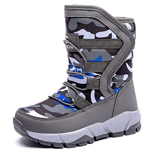 GUBARUN Boys Snow Boots Kids Outdoor Warm Shoes Waterproof (Grey,10)