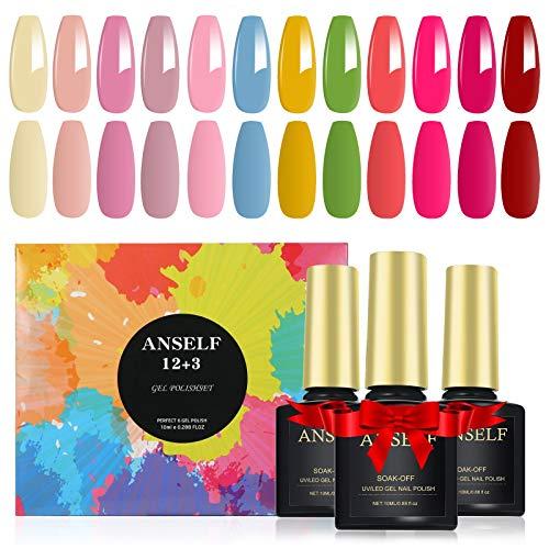 15 Pcs Smalto per Unghie Kit , Anself 12 Colori * 10ML Smalto Semipermanente per Unghie con Base e Top Coat,Top Coat Opaco Soak Off Manicure Nail Art Kit