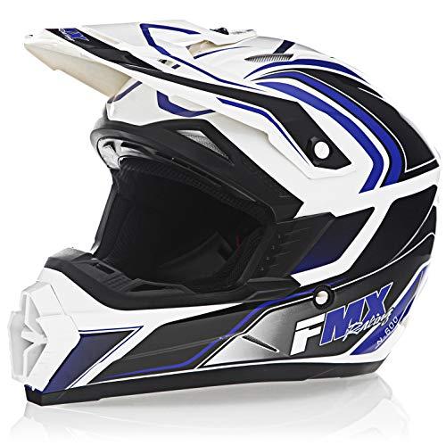 FMX Adult Motocross Dirt Bike Off-Road ATV Motorcycle DOT Approved White Blue Helmet size Medium