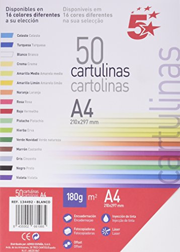 Unipapel 134492 - Paquete de 50 hojas A4 cartulina, color blanco