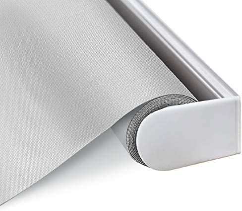 Blackout Cordless Window Roller Shades Light Grey Custom Thermal Insulated Fabric Blinds with product image