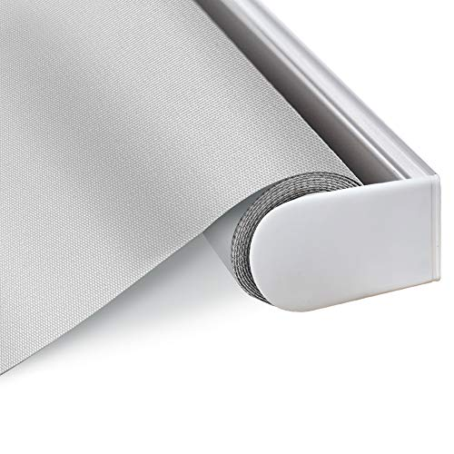 Blackout Cordless Window Roller Shades, Light Grey Custom Thermal Insulated Fabric Blinds with Spring Lifting System, UV Protection Water Proof Sun Shades for Home, Windows, Doors