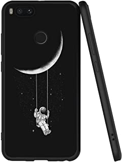 Yoedge Case for Xiaomi Mi A1, Black Phone Case with Pattern [Ultra Slim] Shockproof Flexible Soft Gel TPU Silicone Back Cover Bumper Skin forXiaomi Mi A1 (Moon3)