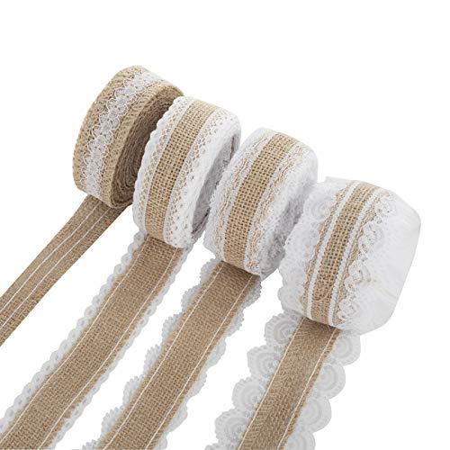 Juteband aus Sackleinen, Rolle – 4 Rollen, natürlicher Jute-Kranz mit weißer Spitze für Geschenkverpackungen, für Hochzeit, Party, Heimdekoration, (2,5 cm breit), insgesamt 20 Meter