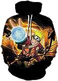 PANOZON Sudadera Naruto Niño Capucha Manga Larga Camiseta de Naruto Kakashi Impresa 3D Casual Moda Calle (S, Negro 34-5)