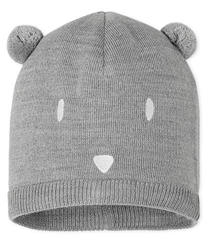Petit Bateau Mütze Bärchen mit Bommel-Ohren und gesticktem Gesicht grau Groesse 3-6 Monate