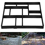 go2buy 10 Grid Garden Patio Black Pathmate Stone Mould Pavement Concrete Stepping Stone Paver Walk Way, 23.8 x 19.9 x 1.7 inch