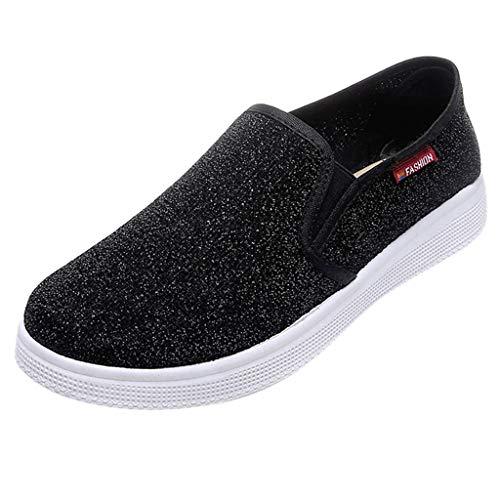 Alwayswin Slippers Damenmode Freizeitschuhe Pailletten Normallack Turnschuhe Espadrilles Trend Wild Sneaker Flache Slip-On Lederschuhe Einzelne Schuhe Mokassins