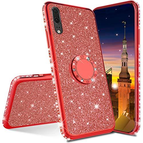 MRSTER Compatibile con Huawei Mate 10 PRO Custodia Glitter Bling Scintillante Brillantini Custodia con Ring Kickstand Rotante a 360 Gradi Donna Cover per Huawei Mate 10 PRO. Red