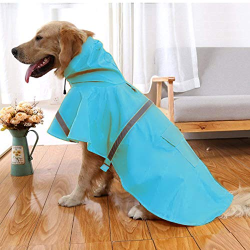 NACOCO Large Dog Raincoat Adjustable Pet Water Proof Clothes Lightweight Rain Jacket Poncho Hoodies with Strip Reflective (XXL, Lake Blue)…