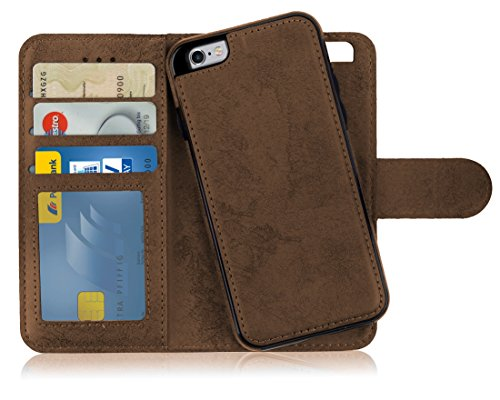 MyGadget Funda Flip Case con Tapa 2 en 1 para Apple iPhone 6 / 6s en Cuero PU - Carcasa Cerrada con Soporte - Cubierta Magnética Separable - Café