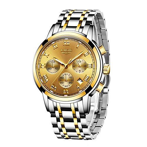 Watches Mens Full Steel Quartz Analog Wrist Watch Men Luxury Brand LIGE Waterproof Date Business Watch (Steel Gold Gold)
