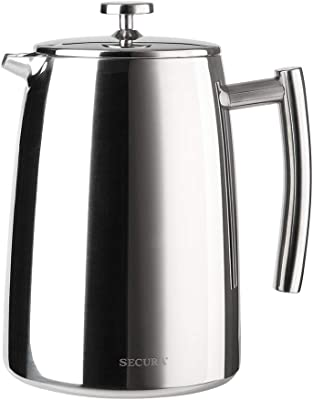 Secura French Press Coffee Maker, 50-Ounce, 18/10 Stainless Steel Insulated Coffee Press with Extra Screen