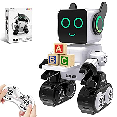 Robots for Kids, Remote Control Robot Toy Intelligent Interactive Robot LED Light Speaks Dance Moves Built-in Coin Bank Programmable Rechargeable RC Robot Kit (White)