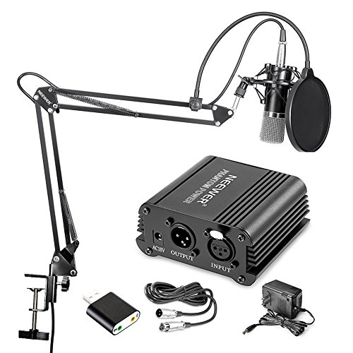 Neewer Home Studio NW-700 Condenser Microphone Kit with Shock Mount, NW-35 Boom Scissor Arm Stand, 48V Phantom Power Supply, XLR Cable, Pop Filter and Type-A USB External Stereo Sound Adapte