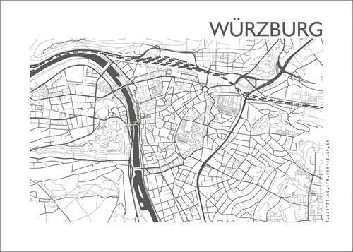 Posterlounge Lienzo 70 x 50 cm: City Map of Würzburg de 44spaces - Cuadro Terminado, Cuadro sobre Bastidor, lámina terminada sobre Lienzo auténtico, impresión en Lienzo