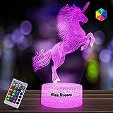Nice Dream Veilleuse Licorne pour Enfants, Fille 3D Lampe LED USB Veilleuse Illusion, 16 Couleurs Changeantes avec Télécommande pour Enfants Adultes Cadeaucances (Licorne 6)