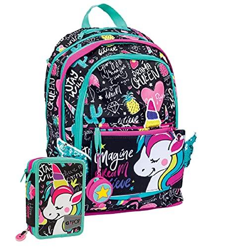 Gopop Schoolpack Zaino Miss Unicorno Estensibile a 3 Zip + Astuccio Triplo Completo