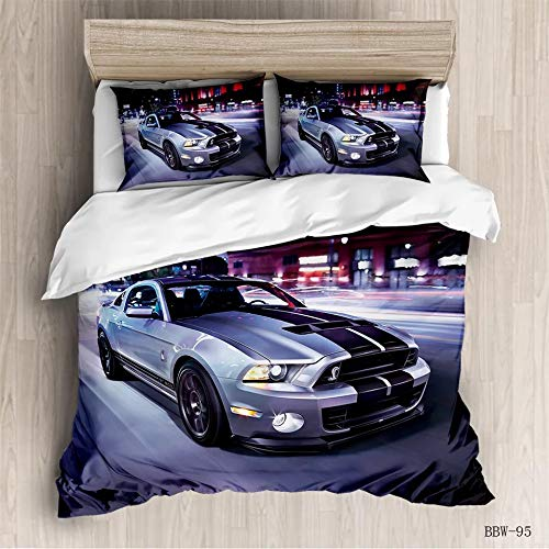 3-teiliges Kinder-Bettwäsche-Set – Auto Race Sports Mustang 3D, Grau