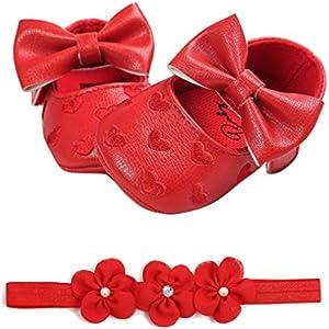 Fossen Zapatos de Bebe Fossen Recién Nacido Niñas Piel Artificial Primeros Pasos Bordado Corazón Patrones Y Diadema de Flores (12-18 Meses, Rojo)
