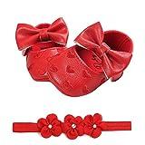 Fossen Zapatos de Bebe Fossen Recién Nacido Niñas Piel Artificial Primeros Pasos Bordado Corazón Patrones Y Diadema de Flores (0-6 Meses, Rojo)