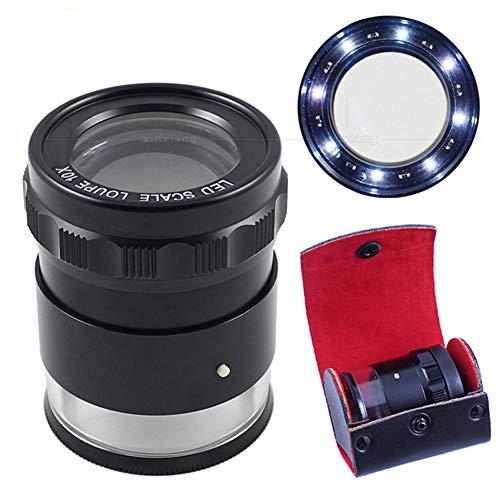 IGRNG 8 Luces LED, 3 Juegos de Vidrio óptico, Scaled HD Lupa Cilindro Funda Caja de Regalo