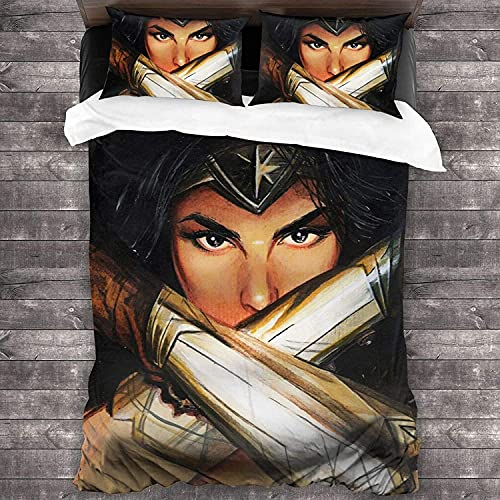 Juego de ropa de cama Wonder Woman, Justice League, impresión digital 3D, apto para todas las estaciones, alta calidad, sin edredón, ropa de cama (Wonder-3, 140 x 210 cm + 80 x 80 cm x 2)