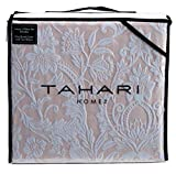 Tahari Home 100% Cotton Quilted Floral Damask 3pc Full Queen Duvet Cover Set Textured Stitching Embroidered Medallions (Blush, King)