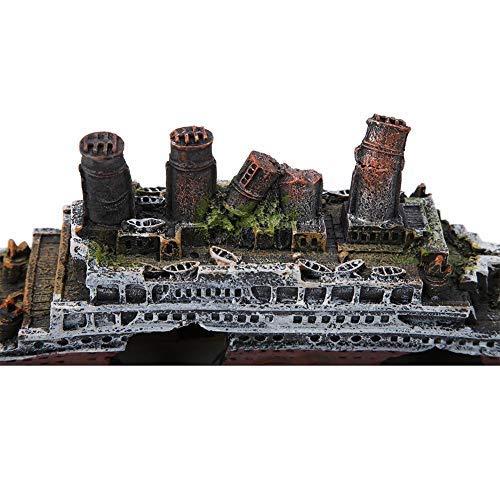 Sheens Decorazione per relitto di Un Acquario, Acquario Ornamenti di Materiale in Resina Titanic Lost Wrecked Boat Modello di Nave per Decorazioni di acquari d'Acqua Dolce di Acqua salata