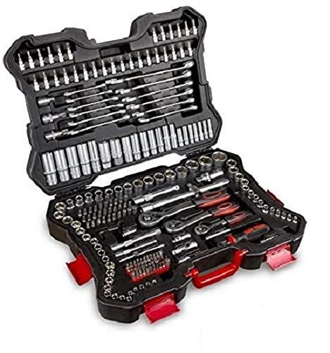Maletín de Herramientas 215 piezas Juego de llaves vaso, puntas y carracas