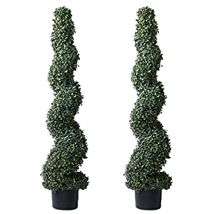 Silk Flower Arrangements 4' Artificial Spiral Boxwood Topiary Trees Indoor or Outdoor in Plastic Pot (2 Pack Lush)