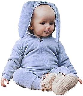 Simplee Kids Animal Bunny Baby Easter Pajamas Long Ear Rabbit Hoodie Romper (Grey)