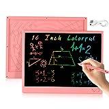 bhdlovely 16 Pollici LCD Scrittura Tablet,con disegno aritmetico ricaricabile USB e lavagna a colori per bambini Ragazzi Ragazze Bambini-Rosa