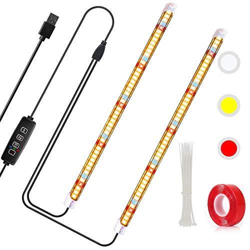 CXhome T5 LED Pflanzenlampe Vollspektrum, mit 3/9/12H-Timer, 2-Röhren-Unabhängig ein/aus, 10 dimmbare Ebenen, für Zimmerpflanzen (Gelb/Rot/Weiß)