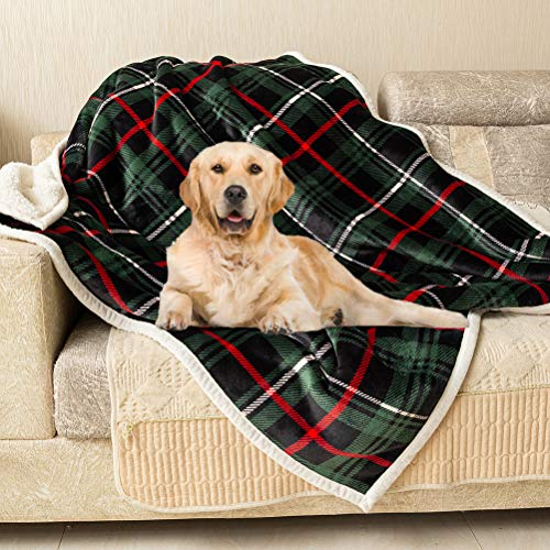 Southmia Christmas Large Dog Blanket - Super Soft Plaid Green Warm Fleece Plush Pet Throw Bed Mat...