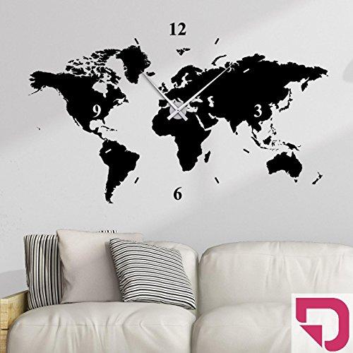 DESIGNSCAPE® Wandtattoo Uhr Weltkarte 180 x 108 cm (B x H) pink inkl. Uhrwerk silber, Umlauf 90cm DW813006-L-F28-SI