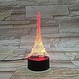 Lámpara De Ilusión 3D Luz De Noche Edificio De La Torre Eiffel De París Muy Presente Para Niñas Atmósfera Dropship 7 Color Con Control Remoto