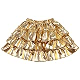 Somlatrecy Toddler Girls Skirts Gold Metallic Shiny Skater Skirt Party Shorts Skirt for Make up Wear(Gold, 7Year)