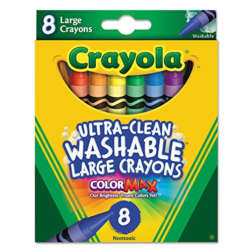 Crayola 523280 Ultra-Clean Washable Crayons, Large, 8 Colors/Box