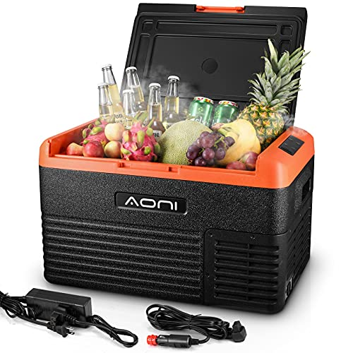 AONI Portable Refrigerator Freezer, 32 Quart (30L) Car Fridge Cooler (-4℉~68℉) with 12/24V DC 110/240V AC Travel Refrigerator for Car, Truck, RV, Camping, Boat, Home Use