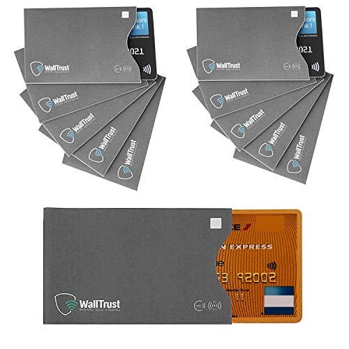 WallTrust RFID Schutzhülle – Ausleseschutz für Kreditkarten aus Papier, TÜV geprüft, Seite offen, grau, 10x