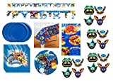 Skylanders Birthday Party Supplies Decoration Bundle for 16 includes Plates, Napkins, Table Cover, Happy Birthday Banner, Paper Masks, Mylar Balloon