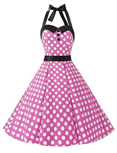 Dressystar Vintage Polka Dot Retro Cocktail Prom Dresses 50's 60's Rockabilly Bandage Pink White dot XXL
