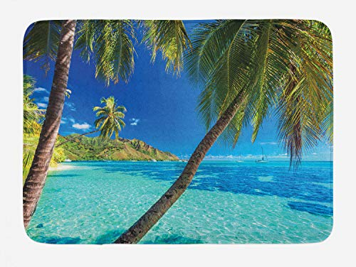 Ambesonne Ocean Alfombrilla de baño, Imagen de una Isla Tropical con Palmeras y Claro mar Playa temática impresión, Felpa baño decoración con Respaldo Antideslizante, 29,5 W x 17,5 W, Azul Turquesa