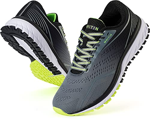 WHITIN Zapatillas Deportivo Hombre Zapatillas de Running Calzado de Deporte Transpirable Sneaker Casual Gimnasio Fashion Bambas Ligero Athletic Outdoor Trail Fitness Gym Liviano Gris Negro EU 45