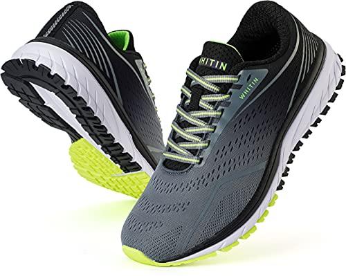 WHITIN Zapatillas Deportivo Hombre Zapatillas de Running Calzado de Deporte Transpirable Sneaker Casual Gimnasio Fashion Bambas Ligero Athletic Outdoor Trail Fitness Gym Caminando Gris Negro EU 43