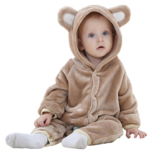 Lilicat Baby Mädchen und Jungen Kapuzenpullover Kleinkind Oberbekleidung Pullover Bär Stil Overall Herbst Winter Jacke Strickjacke Sweatshirt Hoodie Strampler Kleidung (12M/80CM, Braun)