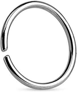 TinyStudio 1 PC Stainless Steel Open Nose Ring Hoop Lip Studs Small Thin Piercing Jewelry(Silver)