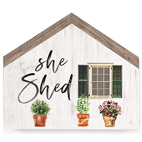 U255uy She Shed Floral Whitewash House Shaped 5.5 x 4.5 Inch Wood Block Tabletop Sign