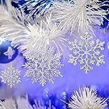 BHGT 24 Copos de Nieve Acrílico 10cm 2 Estilos Colgantes Decoración Árbol de Navidad Adornos Navideños Plateado